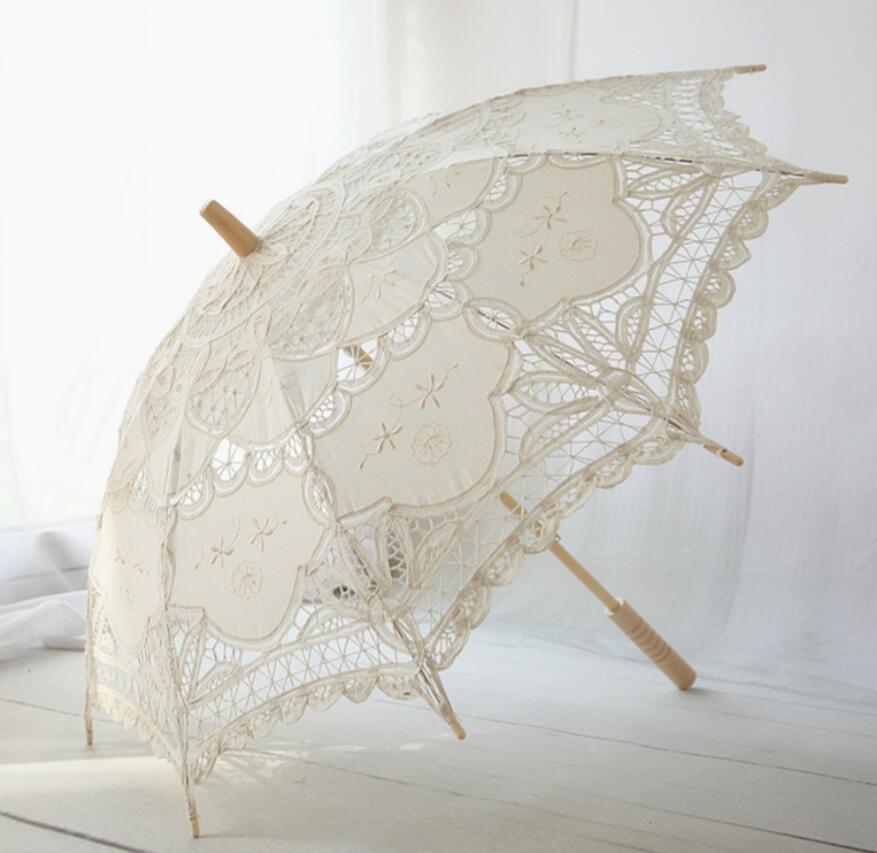 Hecho a mano encaje soleado paraguas blanco marfil sombrilla de encaje de battenburg paraguas fotografía Recital de baile de boda decoración