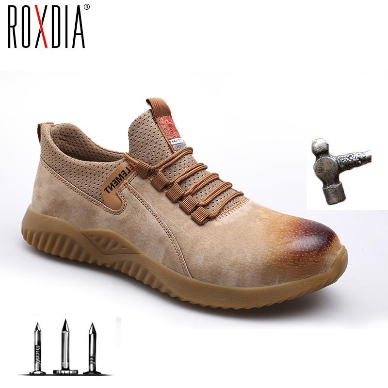 Drop shippin Steel Toe Construction Work Safety Shoes Men Women Ultralight Pig skin Mesh fashion shoes Plus size 37-48 RXM189