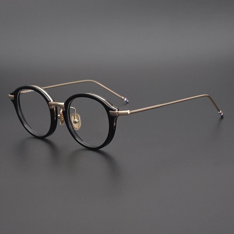 Thom خمر سبائك مستديرة خلات وصفة النظارات الإطار الرجال النساء قصر النظر النظارات البصرية TB011 تصميم العلامة التجارية الرجعية النظارات