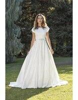 wanshandress jewel a line wedding dresses short sleeves pleated simple satin floor length long bridal gowns with beaded belt