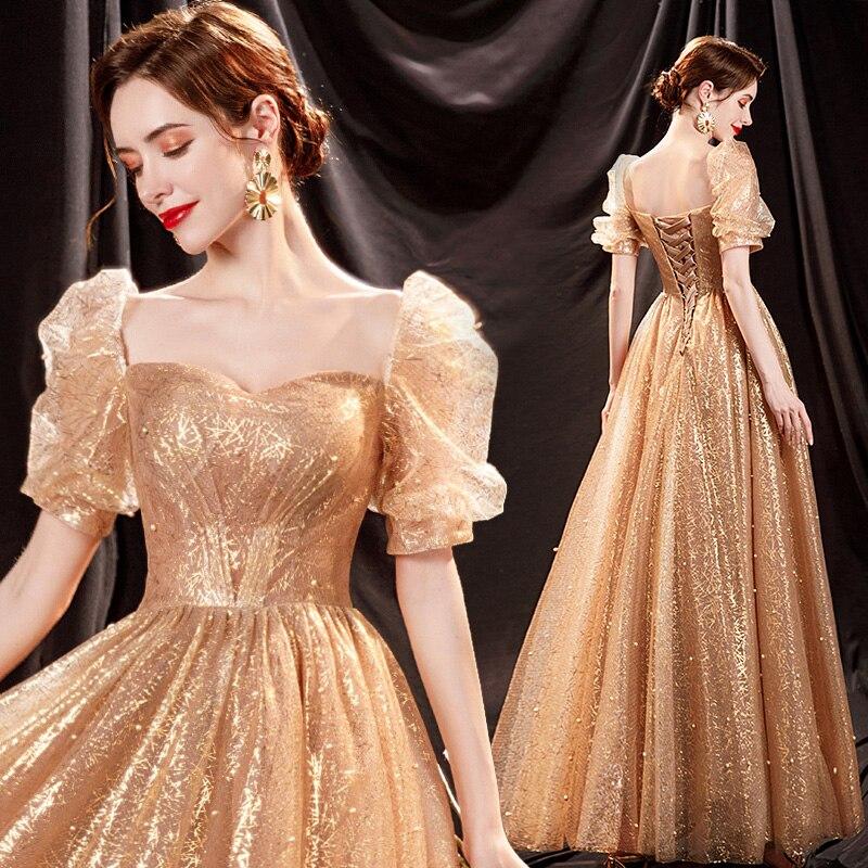 الذهبي نفخة كم حجم كبير وصيفه الشرف العروس الزفاف نخب فستان حفلة سهرة فساتين لحفلات عيد الميلاد للنساء