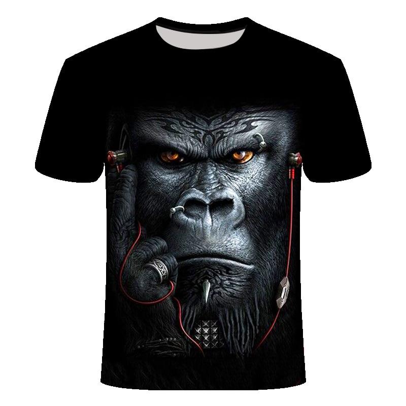 Verano de 2020 3D camiseta de impresión animal mono gorila de manga corta diseño divertido camisa casual camiseta de hombre tamaño asiático S-6XL