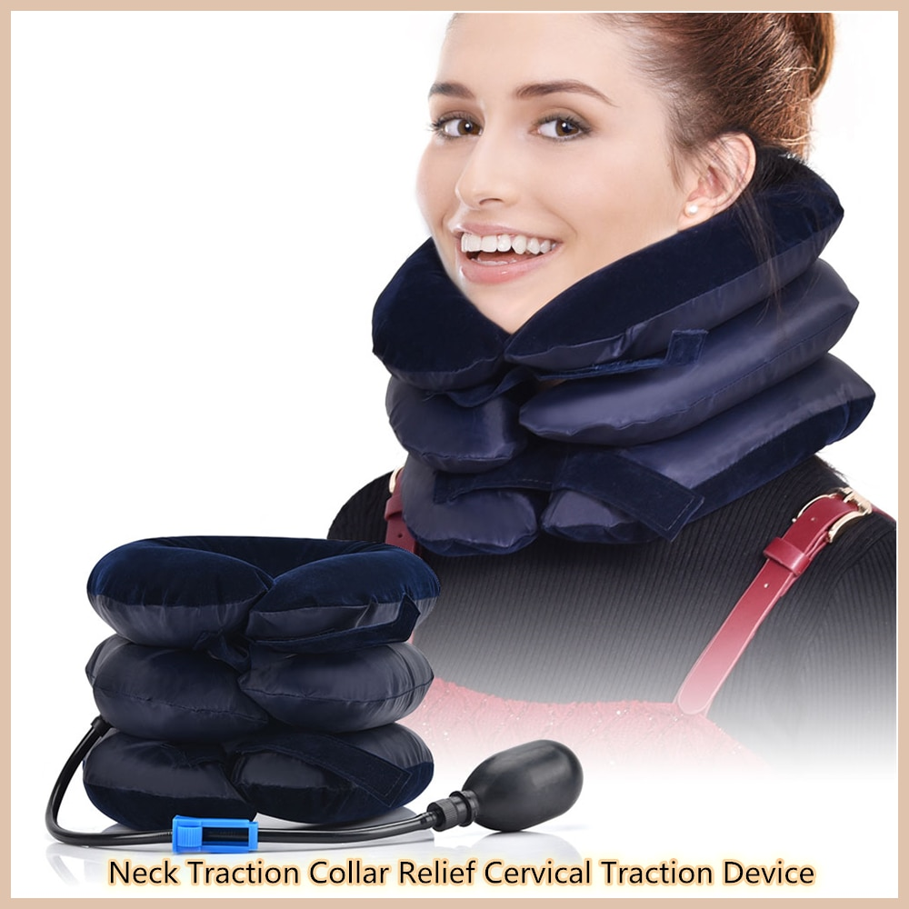New Inflatable Air Three Layers Neck Traction Collar Relief Cervical Traction Device Shoulder Back Pain Relief Neck Massage Tool three layers cervical neck traction apparatus inflatable velvet neck guard portable adjustable neck brace support health care