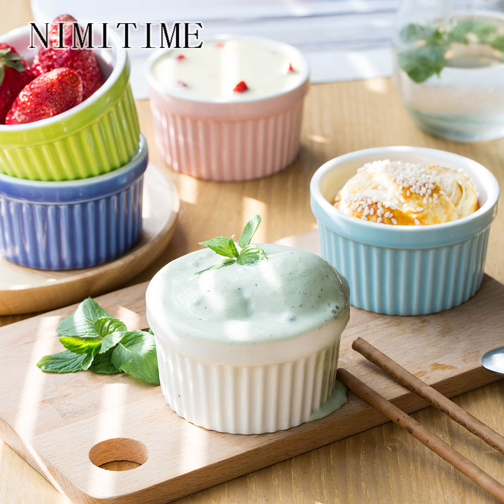 NIMITIME Japanese Style Ceramic Souffle Baking Pudding Bowl Baking Bowl Home Dessert Bowl Pudding Cup Yogurt Cup