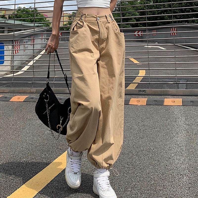 بنطال هاوتشو Y2K ضيق الحجم بتصميم كاكي على طراز الهيب هوب قابل للضبط برباط على الخصر سروال طويل ملابس شارع 90s خريفي