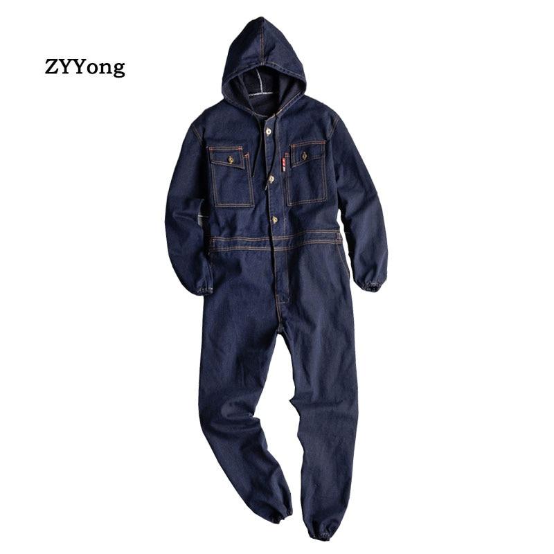 Man Jeans Jumpsuits Bib Overalls Long Sleeve Hooded Beam Feet Denim Cargo Streetwear Hip Hop Trousers Fashion Leisure Pants
