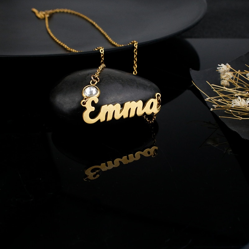 10s custom gf custom 50s flame sunburst aged Emma personalized customization custom name flame word fashion European and American jewelry gifts for men and women