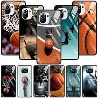 basketball basket rebounds glass for xiaomi poco x3 nfc m2 f2 pro cover for mi 11 ultra 11 10 10t lite 9t cc9e cc9 note 10 shell