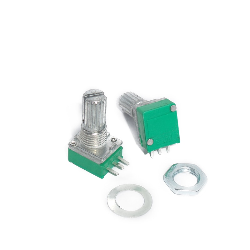 10pcs RK097N Sealed Potentiometer B10K B100K B5K B20K B50K B500K 3pin 15mm Shaft audio Amplifier Sealing rotary Potentiometer 161 horizontal double potentiometer b10k
