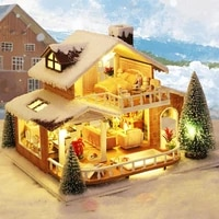 ice manor creative gift birthday gift diy mini doll house ice snow hand assembled building bricks toys glowing house christmas