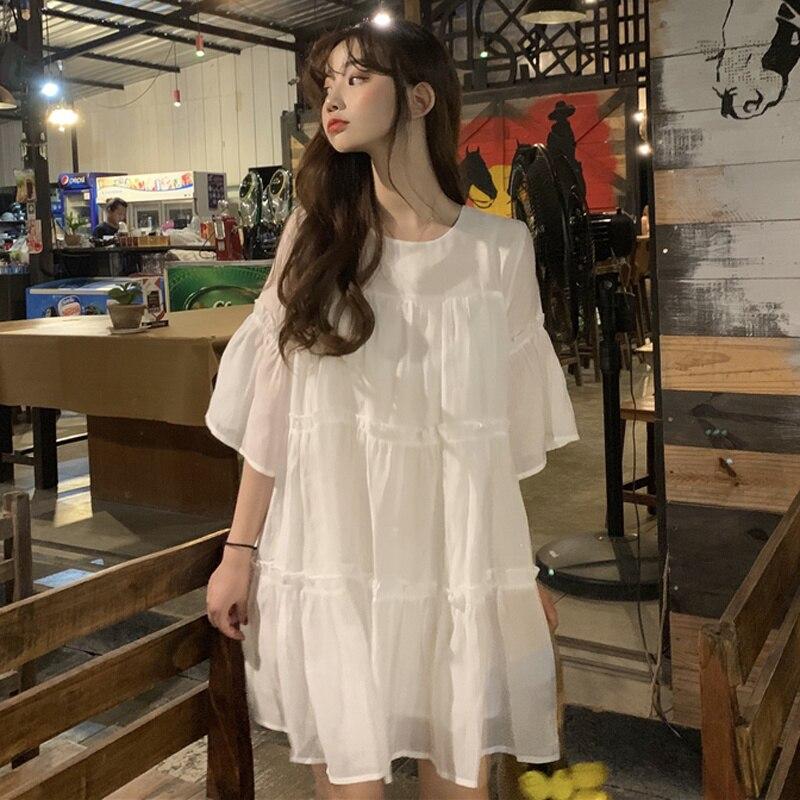New Korean Loose Ear Edge Baby Dress Girl's Fairy Dress Woman White Mesh Skirt Student Summer Dress