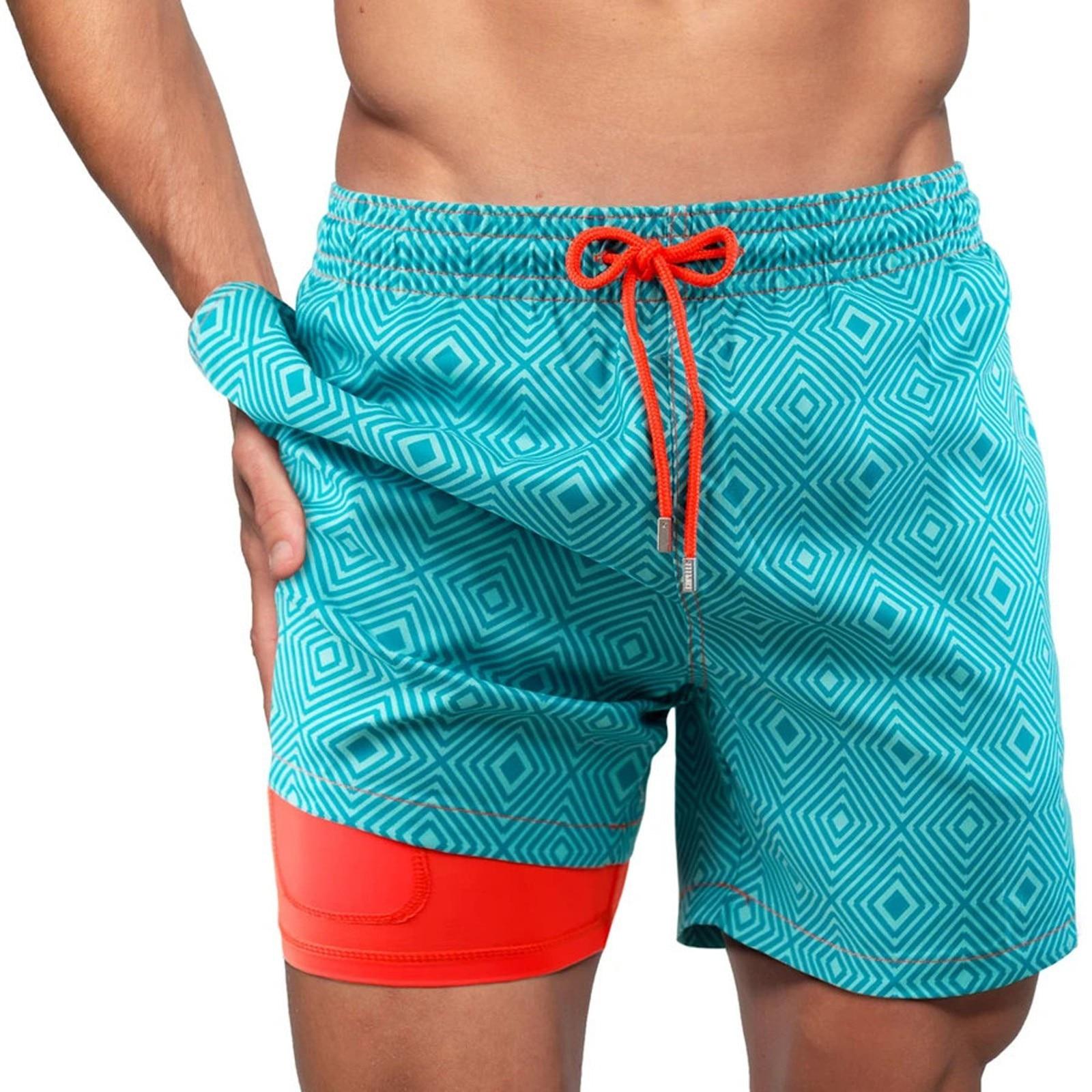 Мужские камуфляжные шорты для бега 2021, мужские двухуровневые быстросохнущие тренировочные шорты 2 в 1 для спортзала, мужские пляжные шорты