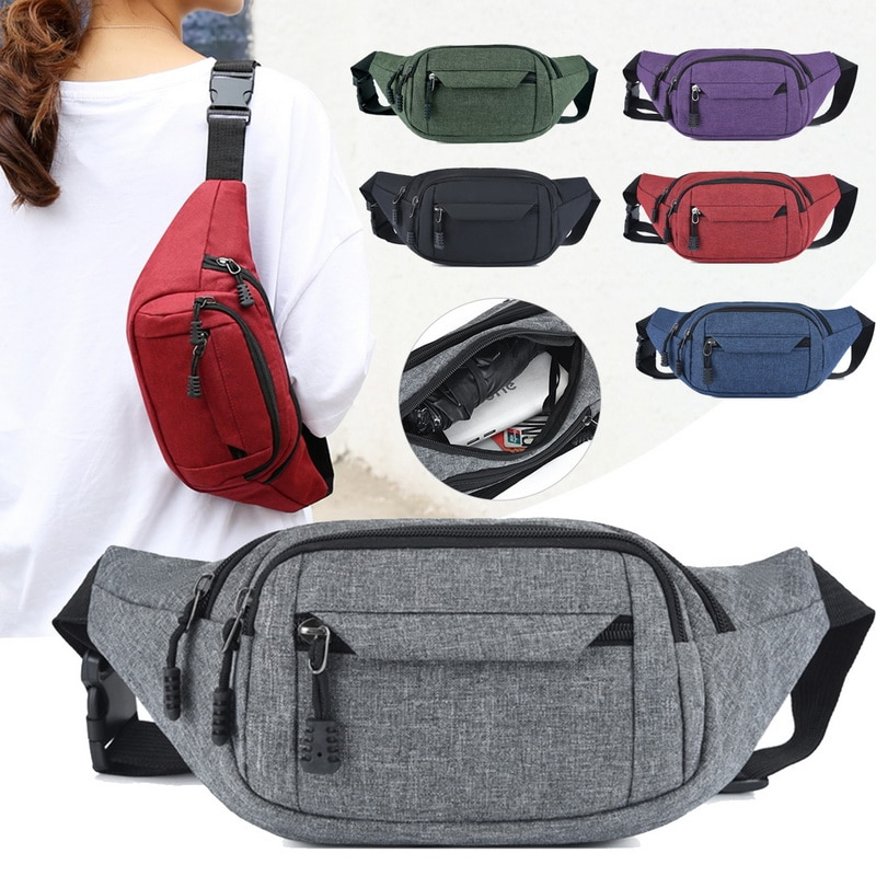 New Fashion Men Women Waist Bum Bag Belt Money Pouch Wallet Zip Travel Hiking Bag Black Blue Red Gray