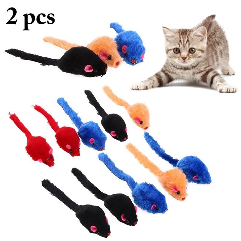 2 Pcs Plush Cat Toy Creative Simulation Mice Toys Interactive Kitten Teasing Play Toy Cat Scratch Bite Toys Pet Cats Supplies