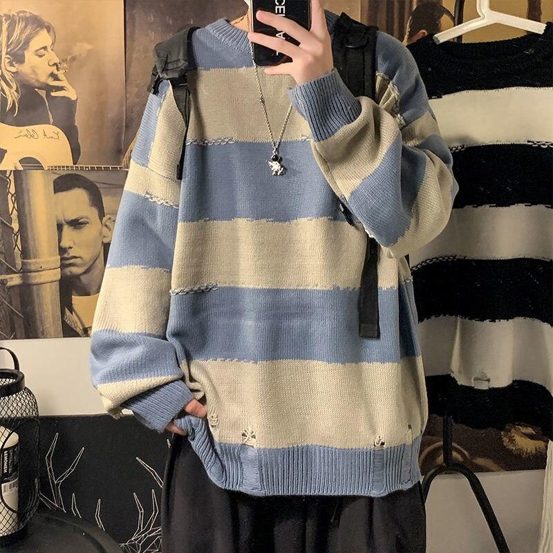 Осенний полосатый мужской свитер, корейский Повседневный свитер, мужской модный Свободный пуловер, свитер, Мужская Уличная одежда, вязаный ...