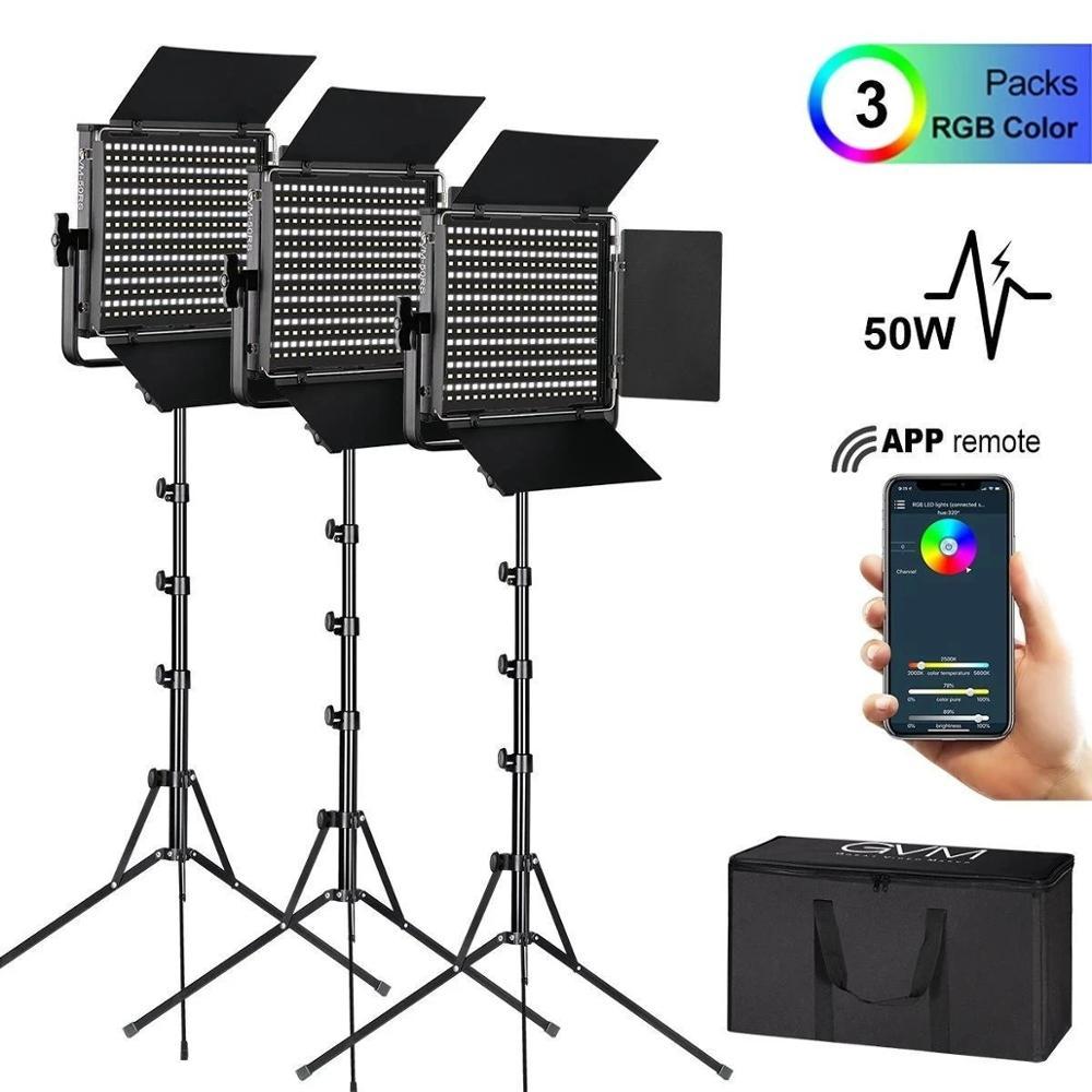 GVM RGB GVM-50RS إضاءة الاستوديو للتصوير الفوتوغرافي Led مصباح لوح الإضاءة اليمنى صور التصوير الفوتوغرافي مصابيح إضاءة المصابيح أضواء المصباح