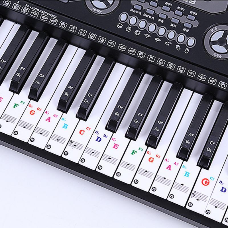 Iano наклейки на клавиатуру красочные прозрачные для фортепианных ключей наклейки для 49/76/88 полный набор наклеек пианино спектр наклейки