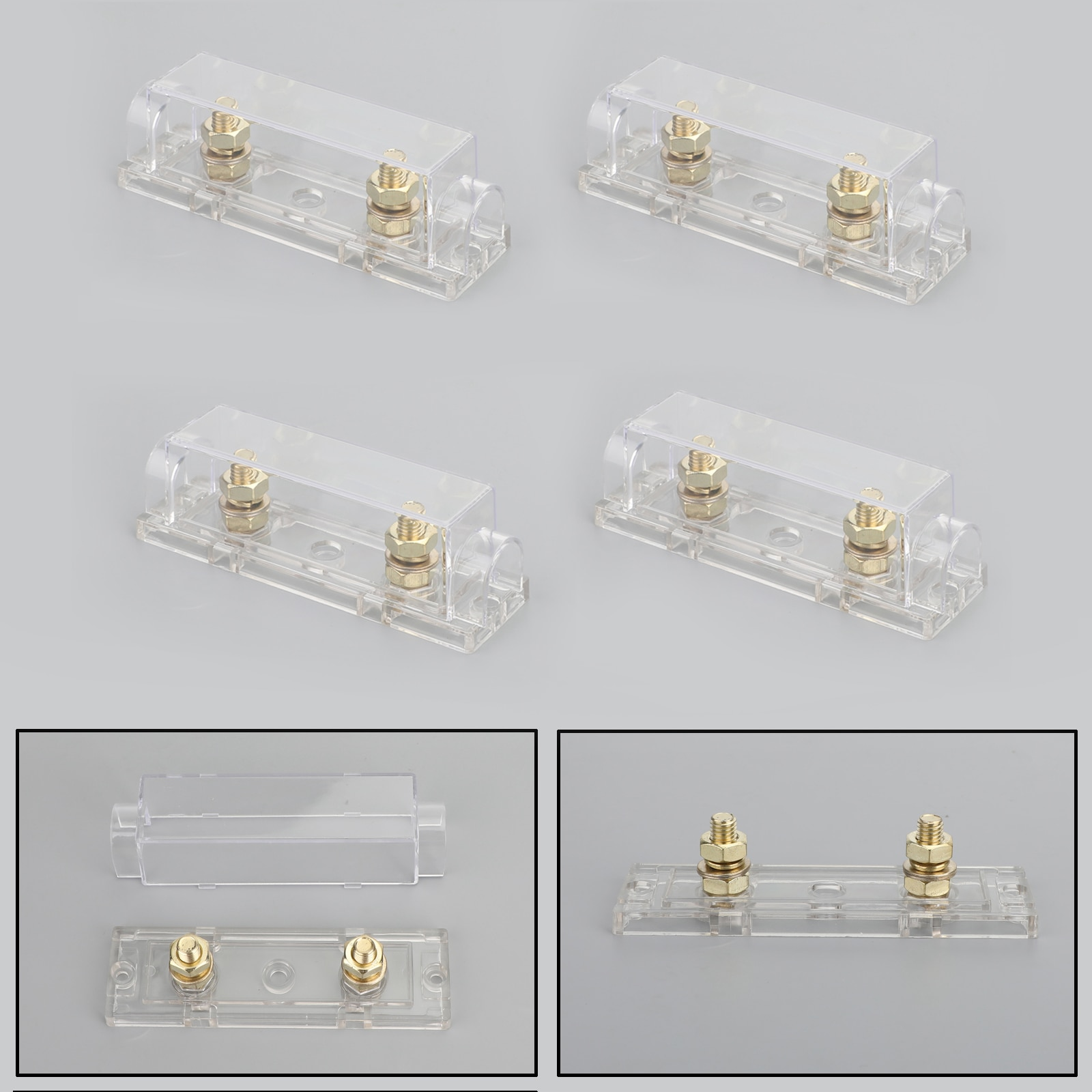 Caja portafusibles Areyourshop de 4 Uds ANL resistente a altas temperaturas y a la corrosión Tipo de horquilla para coche de 12V con Base protectora