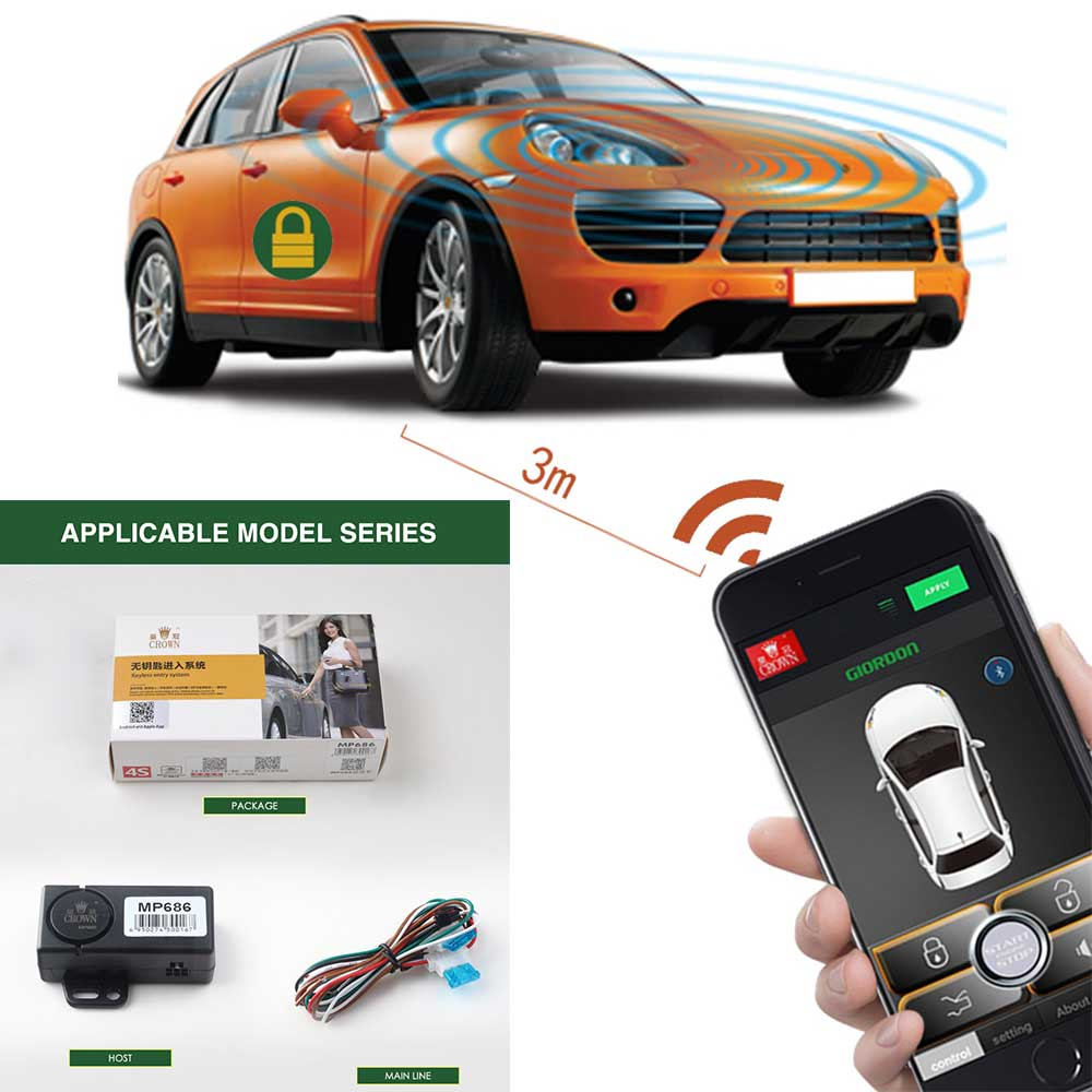 Keyless Entry Alarm System car engine start stop system remote Control the car by phone approaches the car to unlock, leaves the