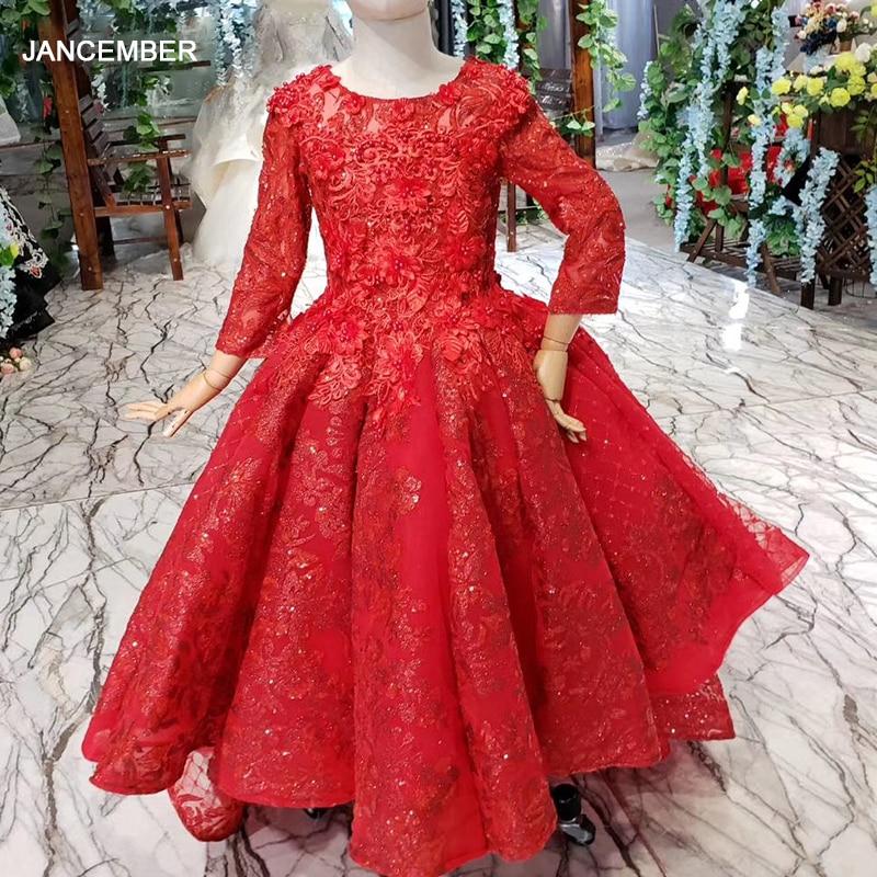 LSS529t-فستان زفاف أحمر مزين بالورود ، ياقة دائرية ، أكمام طويلة ، ثوب كرة مسلم