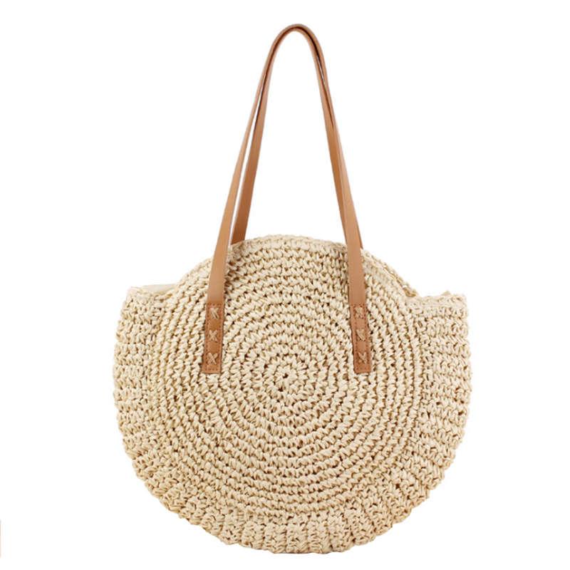 Nuevo-Bolso de playa redondo de paja Vintage bandolera tejido a mano bolso rafia círculo de ratán bolsas de vacaciones de verano bohemio Casual bolsas