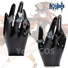 Genshin Impact Hutao Cosplay Game Accessories Rings Props Stage Property Ring Set Jewelry Project Characters Props Ring Gift New