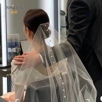 topqueen v64 d pearl wedding veil luxury veil for bachelorette party veil pearl veil comb for bride white ivory communion veil