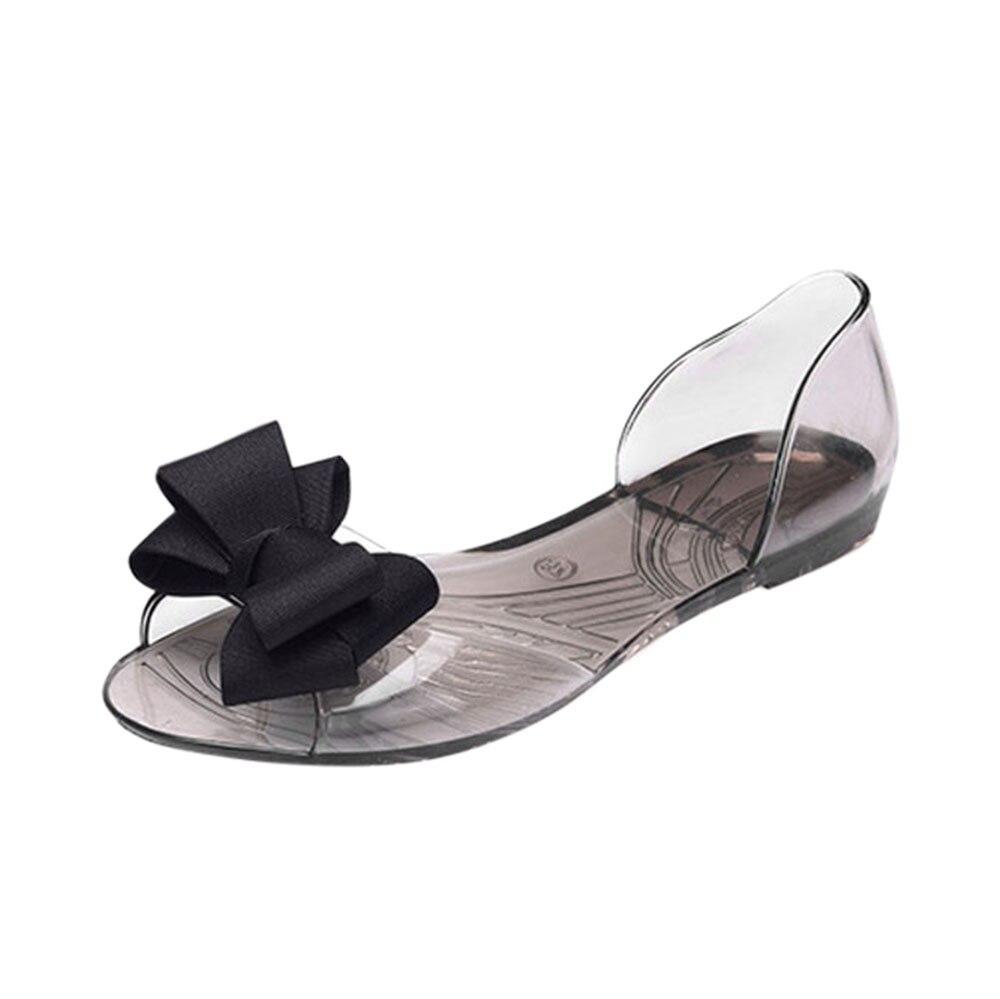 Sandalias de moda de verano para mujer, sandalias con nudo de mariposa informal y tacón de tapa plana transparente X0107