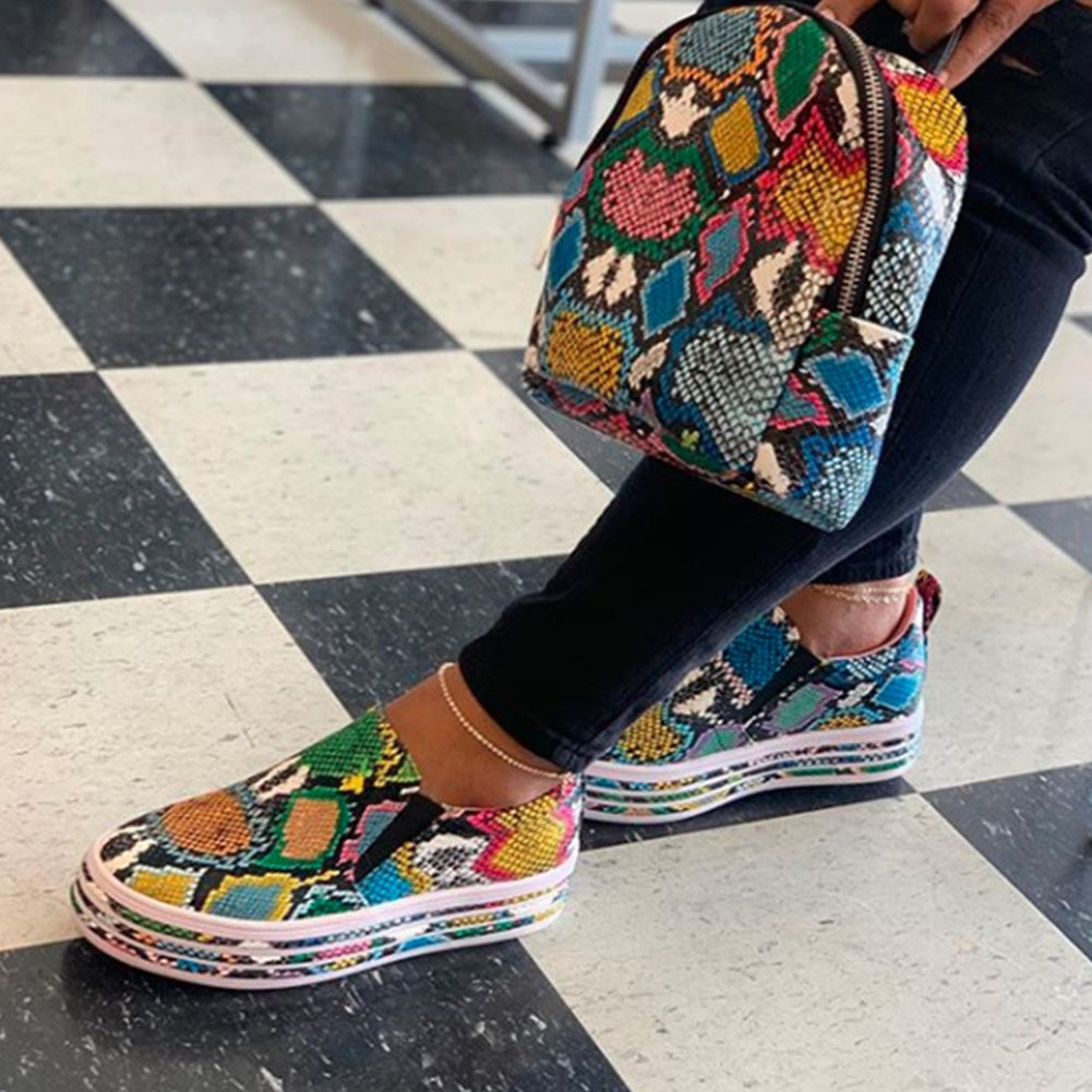 Shoes INS HOT Colorful Snake Printed Vulcanized Loafers Female Sneakers Fashion 2020 Women Footwear