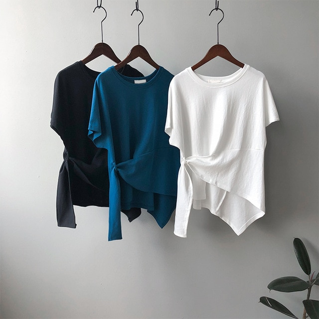 CMAZ New T-shirts Women 2021 Vogue Vintage Tshirts Pure color Cotton Women O Neck Short Sleeve Best
