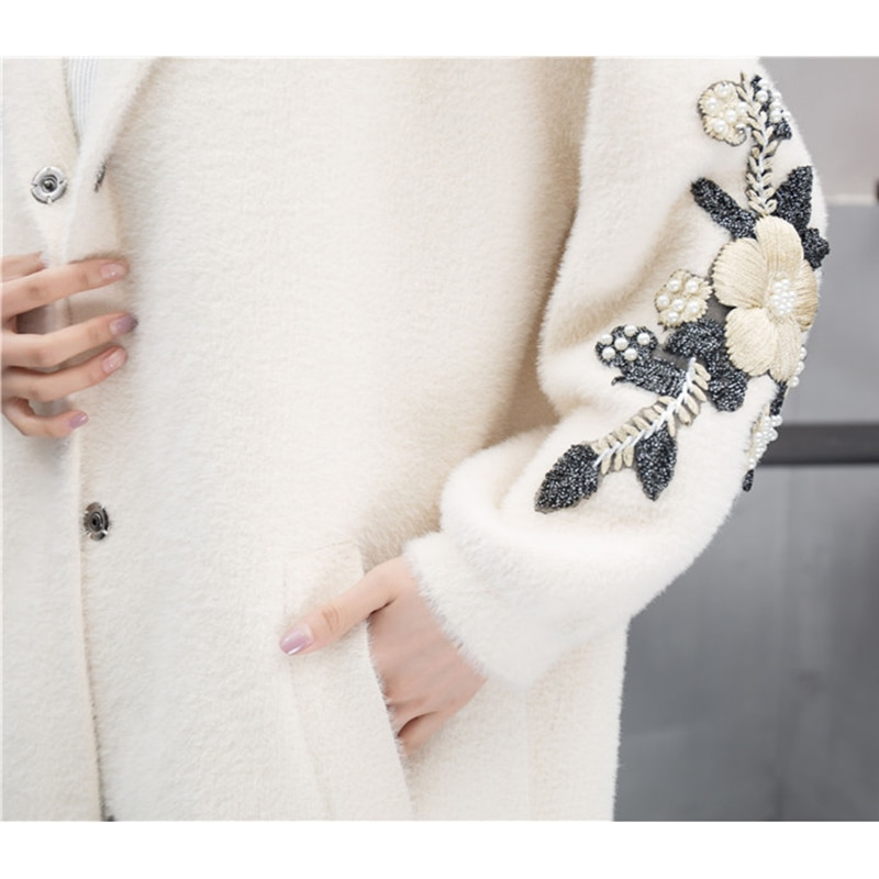 Girl Casual Long Knitted Cardigan Autumn Korean Women Loose embroidery Floral Pocket Design Sweater Jacket Female Knitted coats enlarge