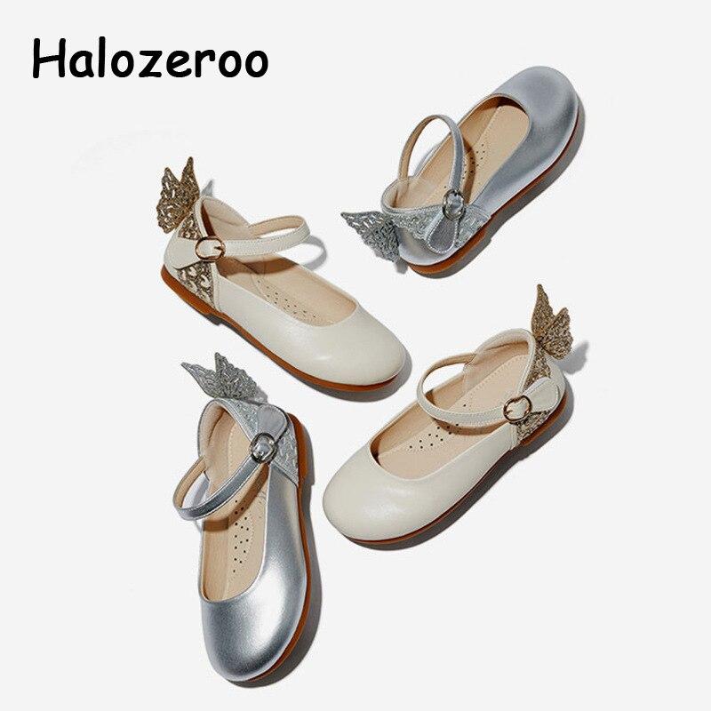 Nuevos zapatos de primavera con lazo para niñas, zapatos planos de cuero Pu para niños, zapatos de marca de lentejuelas, zapatos de princesa negros, zapatos de moda para baile Mary Jane