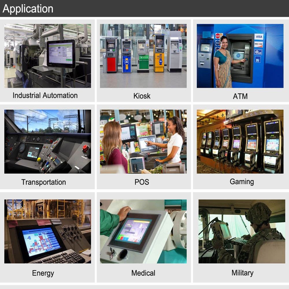 Fanless 10.4 inch industrial Touch Screen panel PC for POS Terminals With intel atom cpu 4Gb ram 64Gb ssd XP system