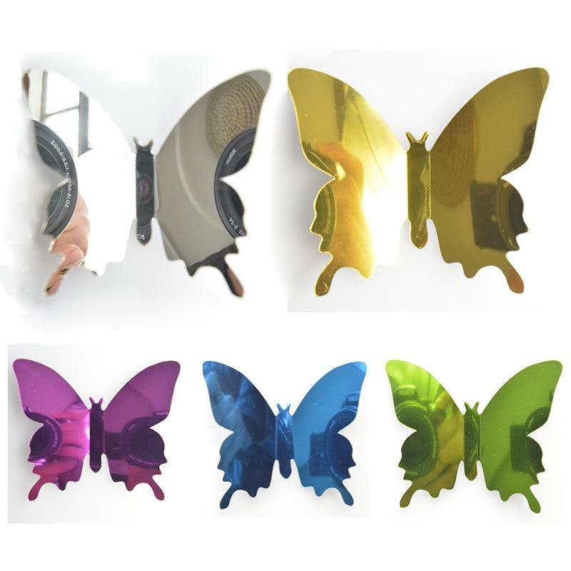 12 unids/set nuevo espejo plateado 3D mariposa pegatinas de pared fiesta decoración de la boda decoración para el hogar personalizable Adhesivo de pared 5 colores