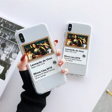 Da Vinci Masterpiece Mona Lisa Art Case for iPhone 11 Pro Xs Max iPhone XR X 6 6S 7 8 Plus Soft Clear TPU Shockproof Back Cover