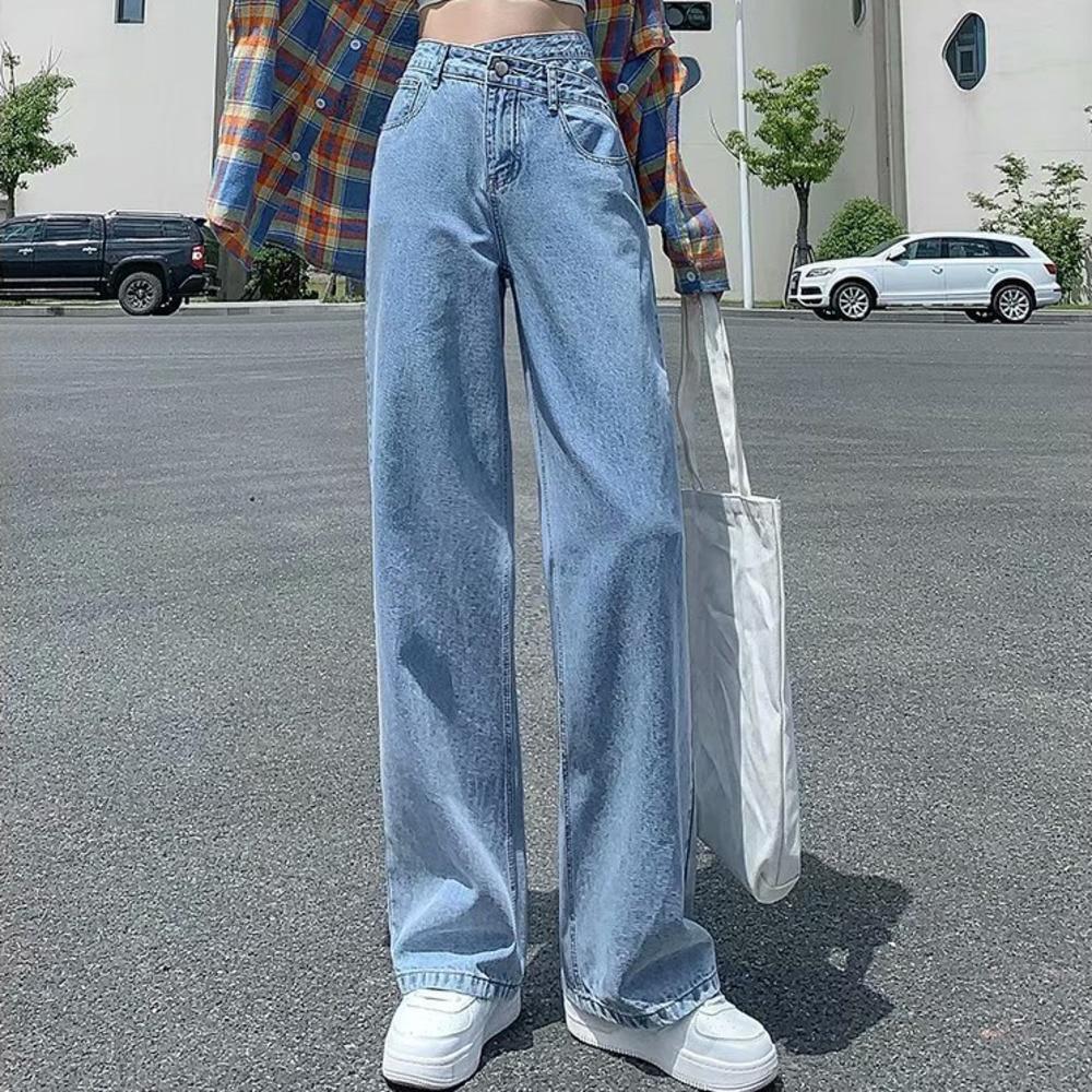 Женские джинсы с завышенной талией Feynzo, джинсовые брюки с широкими штанинами, джинсовая одежда, синие джинсы, винтажные качественные модные...