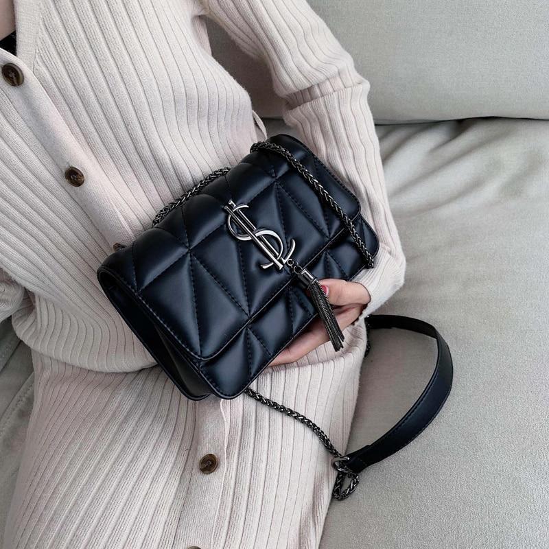 Luxury Brand Handbag 2019 New Fashion Simple Square bag Quality PU Leather Women's Designer Handbag Lock Shoulder Messenger bags