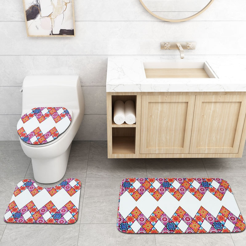 Bohemian Printing Waterproof Shower Curtain Bathroom Toilet Floor Mat Set Shower Curtain Stock Carpet Set enlarge
