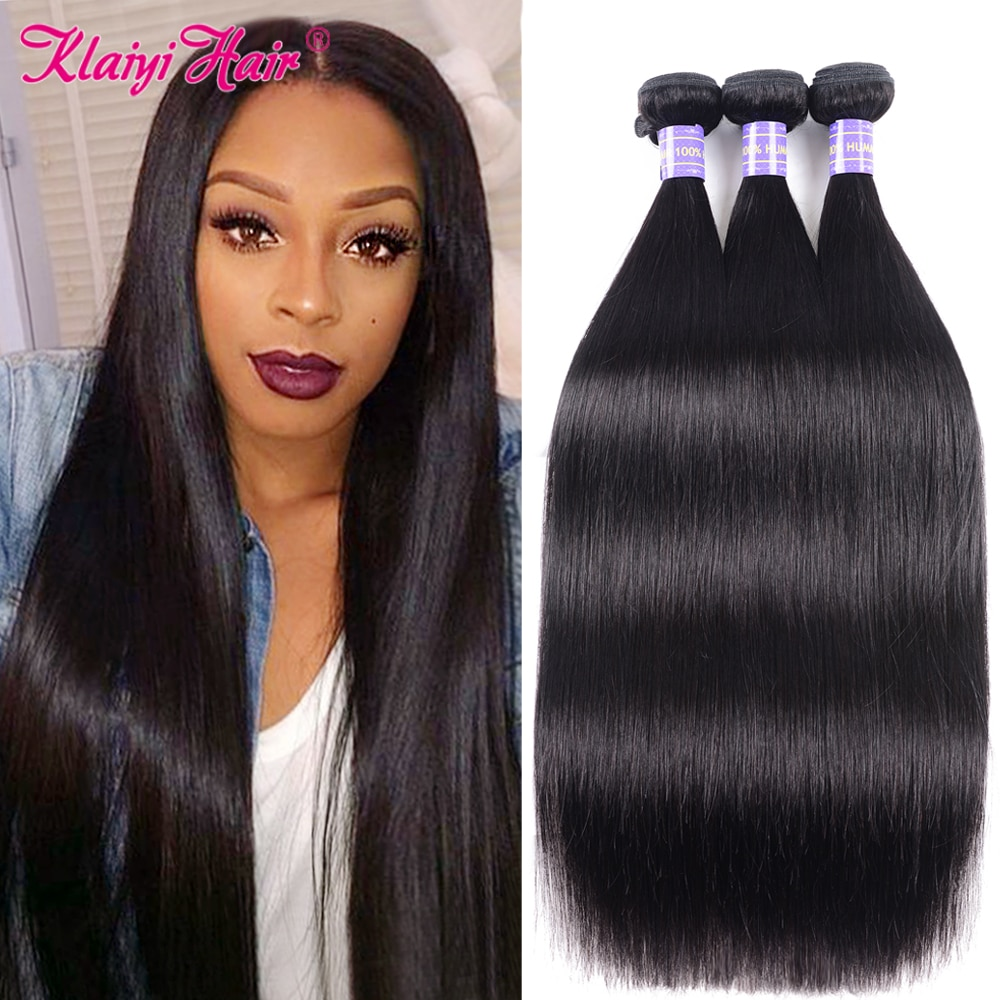 Klaiyi Straight Hair Bundles Brazilian Remy Hair Extension 8-26 Inch Human Hair Weave Bundle Natural