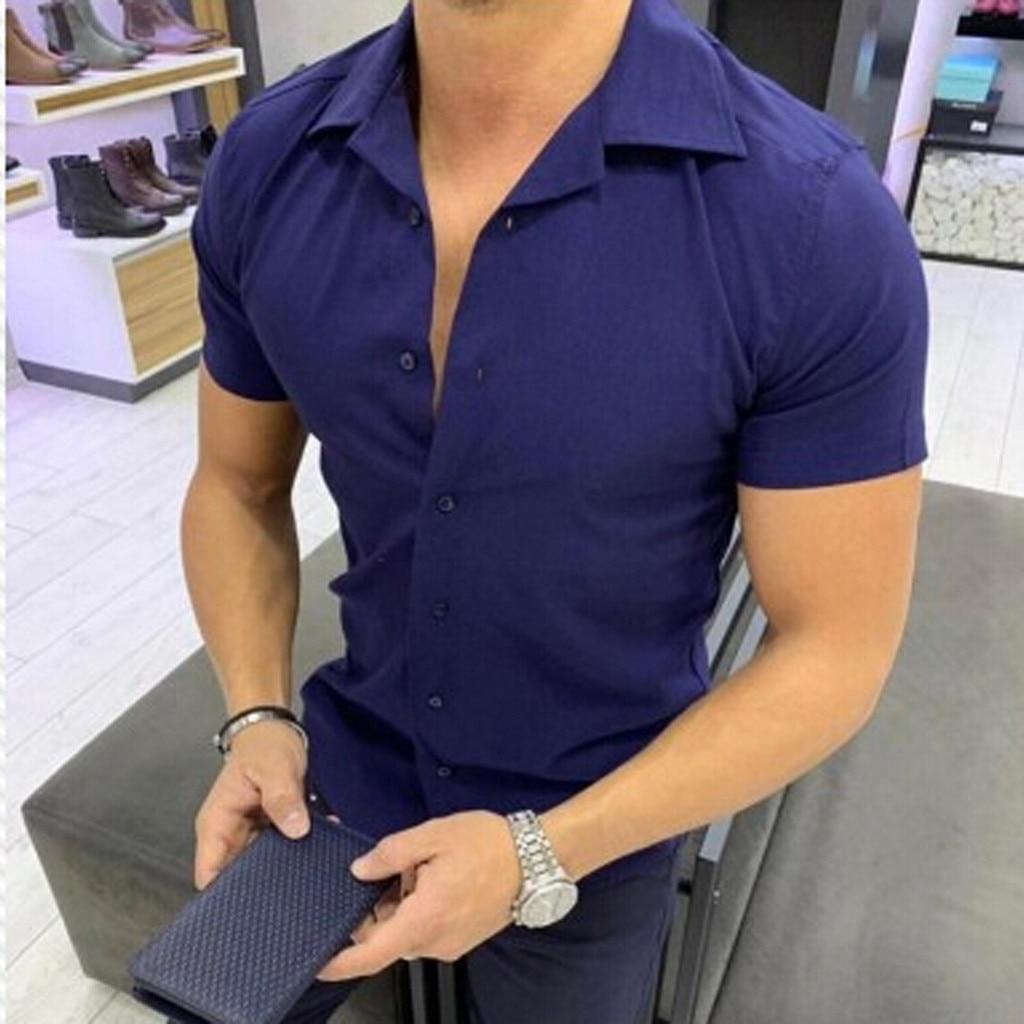 2019 Men Shirt Men Fashion Solid Color Male Casual Short Sleeve Shirt Mens Shirts  Apr8