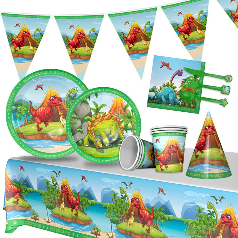Dinosaur Theme Tableware Paper Plate Cup Napkins Boy Happy Birthday Party Decor Kids Jurassic World Party Jungle Safari Birthday