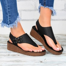 2020 Women Sandals Solid Color Leather Summer Shoes Women Large Size Women Wedges Sandals Summer Sho