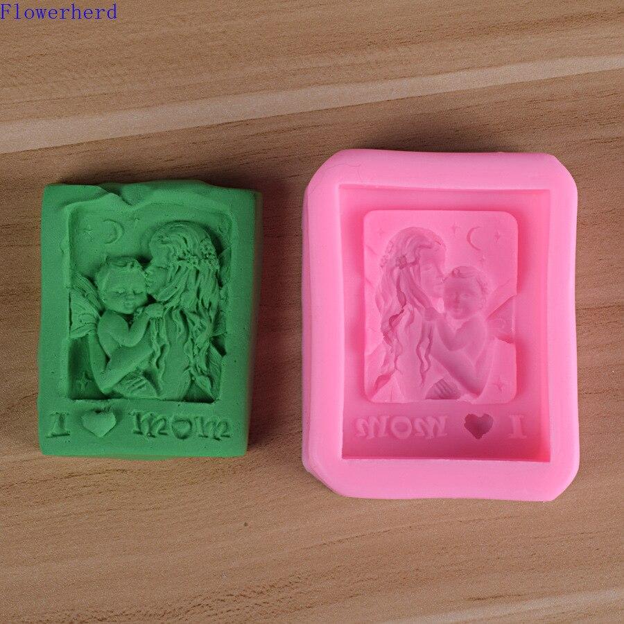 La madre y el niño jabón hecho a mano molde Fondant pastel de yeso de silicona molde de líquido de silicona molde de jabón de bebé forma repostería herramientas