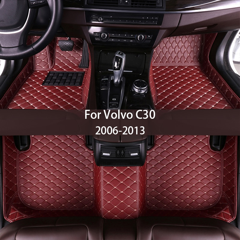 leather Car floor mats for Volvo C30 2006-2013 Custom auto foot Pads automobile carpet cover