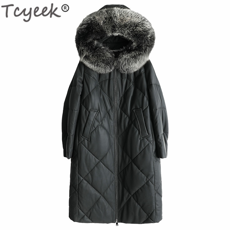 Tcyeek 100% manteau en peau de mouton femme hiver fourrure de renard naturel à capuche en cuir véritable veste femmes en cuir véritable vestes hiver 2739