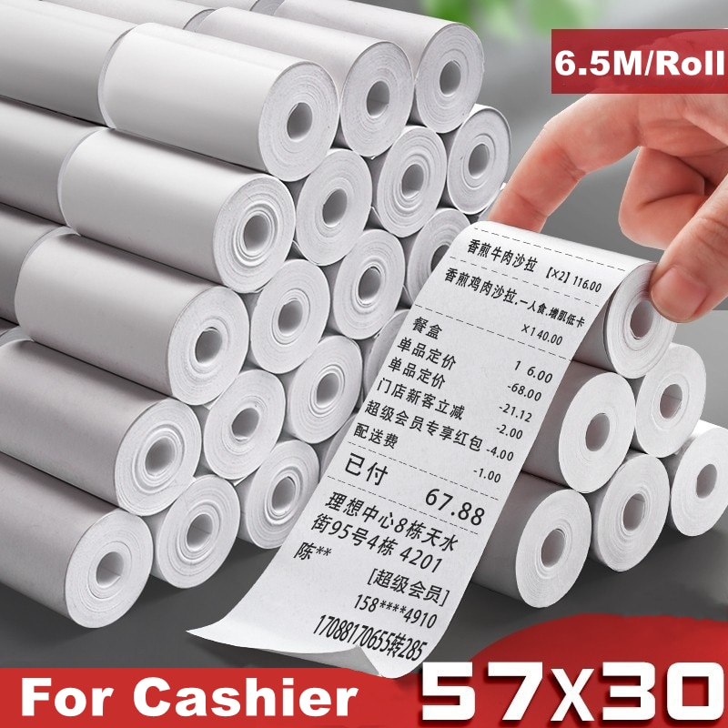 20 Roll Thermal Paper 57x30 mm Label Paper Thermal Paper for Mobile Bluetooth Cash Registers POS Printer Mini Printer Accessorie