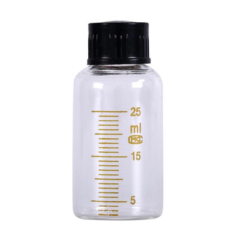 Прибытие 25 мл винт на крышка Выпускной образец флаконы Пластиковый черный винт колпачок Градуированный круглый стеклянный реагент бутылка