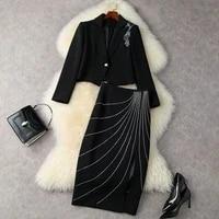 ladys suit black 2021 fallwinter womens clothing applique short business blazer jacket hot rhinestone split skirt set s xl