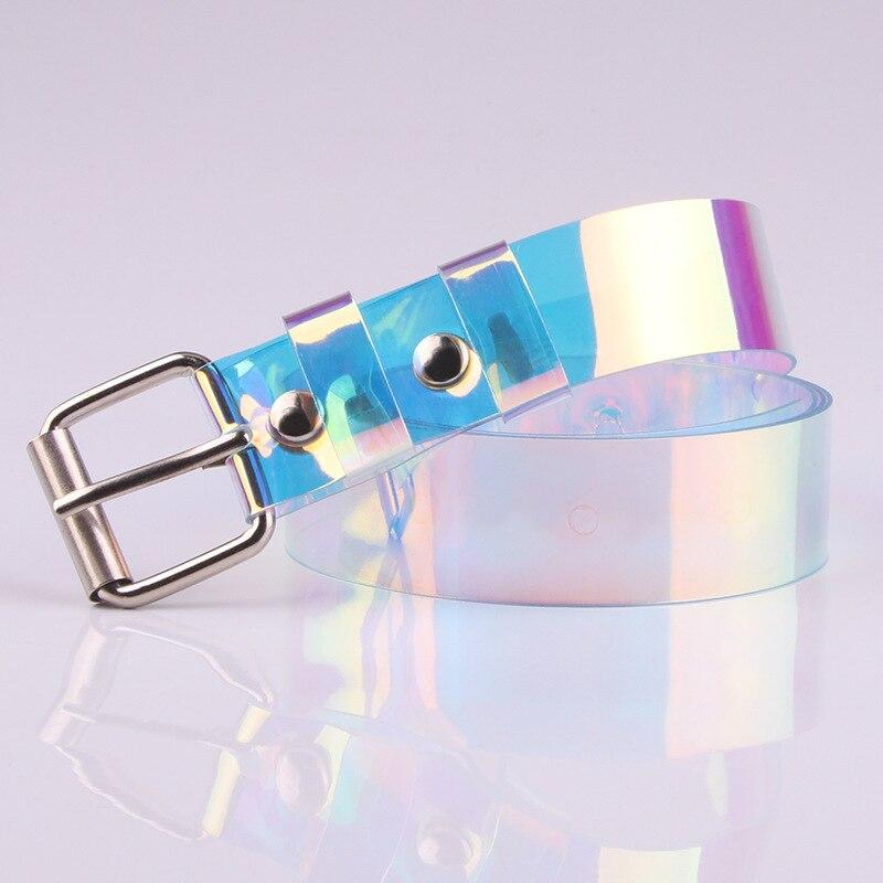 ¡Novedad de 2020! Cinturón transparente para mujer con hebilla holográfica transparente, banda para cintura ancha, cinturón Invisible Punk