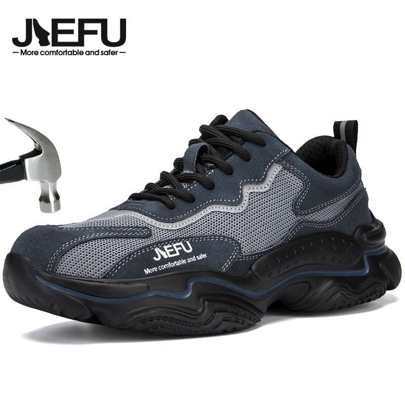JIEFU أحذية أمان للرجال دائم الصلب تو المدربين العمل خفيفة الوزن مريحة صناعة البناء الأحذية